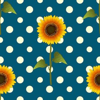 Girassol, ligado, amarela, bolinhas, azul, cercela, fundo