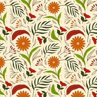 Girassol pintado à mão com padrão floral exótico