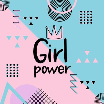 Girl power bonito mão lettering desenhado no fundo rosa