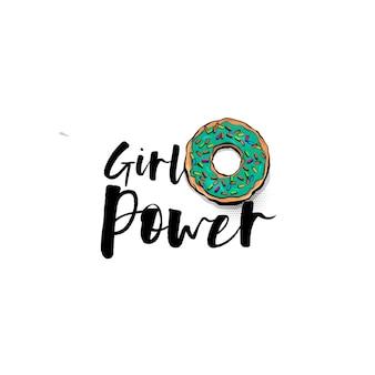 Girl power motivação texto em quadrinhos donut pop art letras manuscritas cartoon comics livro padaria