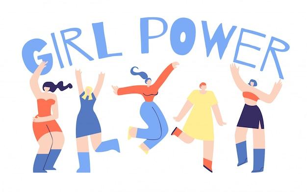 Girl power poster design de afirmação de caráter plana