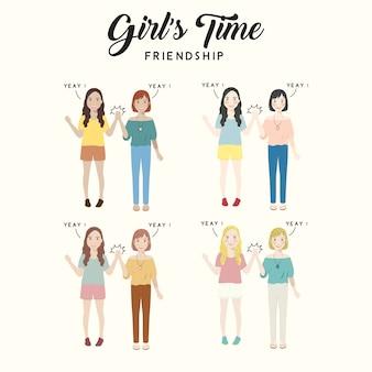Girl's time friendship ilustração de personagem fofa