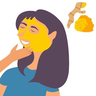 Girl spa aplica máscara de açafrão no rosto procedimento de hidratação e limpeza cosmética