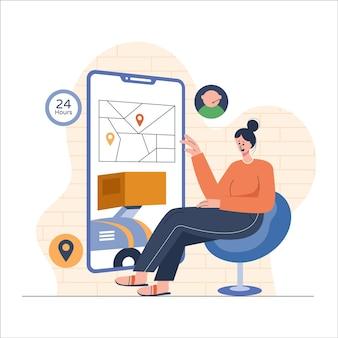 Girl tracking order on mobile flat illustration