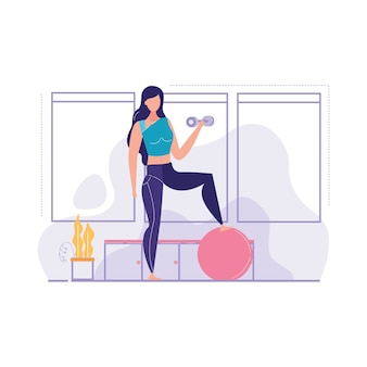 Girls is engaged gym vector illustration