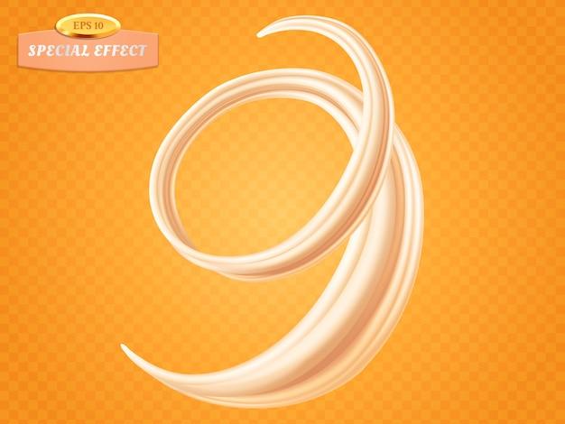 Giro de creme líquido ou leite isolado em fundo laranja