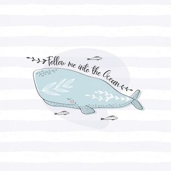 Giro de mão desenhada cartão de baleia. mão desenhada animal do oceano