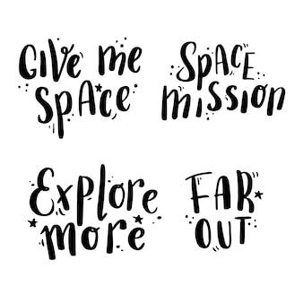 Giro de mão desenhada lettering espaço e galáxia citar com elementos estrela.