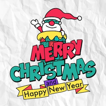Giro de mão desenhada natal doodles, papai noel sorrindo e acenando com a mão sobre a chaminé. com tipografia feliz natal e feliz ano novo