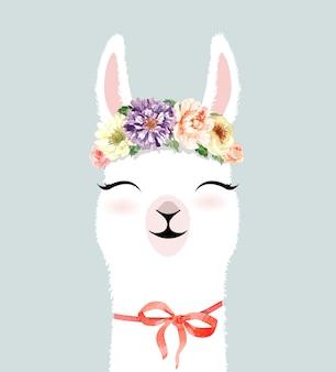 Giro de mão desenhada personagem de lhama com aquarela de coroa de flor.