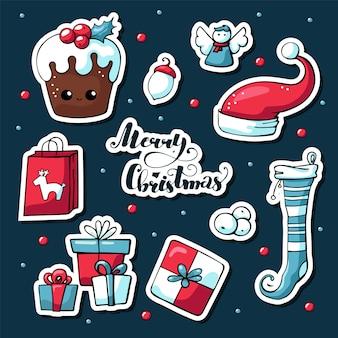 Giro do vetor mão desenhadas imagens de elementos de natal com letras