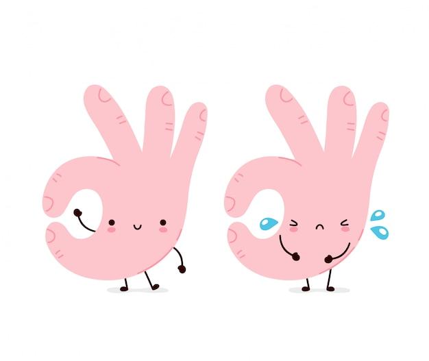 Giro engraçado feliz e triste gesto bem. desenho animado personagem ilustração ícone do design.