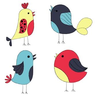 Giro mão desenhada aves. Coleção de pássaros coloridos.
