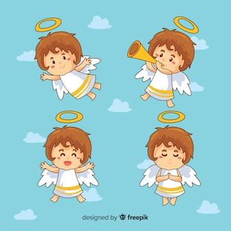 Giro mão desenhada coleção de personagens de anjos de natal