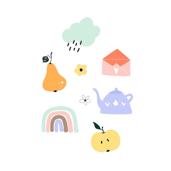 Giro mão desenhada primavera pêra, arco-íris, maçã, nuvem chuvosa, bule, envelope. modelo escandinavo higge acolhedor para cartão postal, cartão postal, design de camiseta. ilustração vetorial no estilo cartoon plana