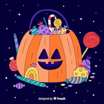 Giro mão desenhada saco de abóbora de halloween