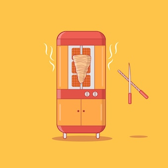 Giroscópios modernos shawarma grill máquina vector illustration