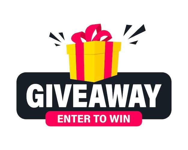 Giveaway, entre para ganhar. modelo de postagem de mídia social para design de promoção ou banner do site. ganhe um sorteio de prêmio. caixa de presente com sorteio de letras de tipografia moderna. conceito de brinde para vencedores
