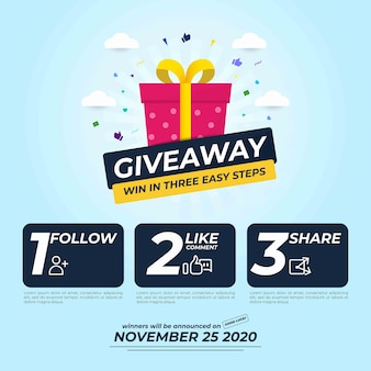 Giveaway for social media post com três etapas para vencer