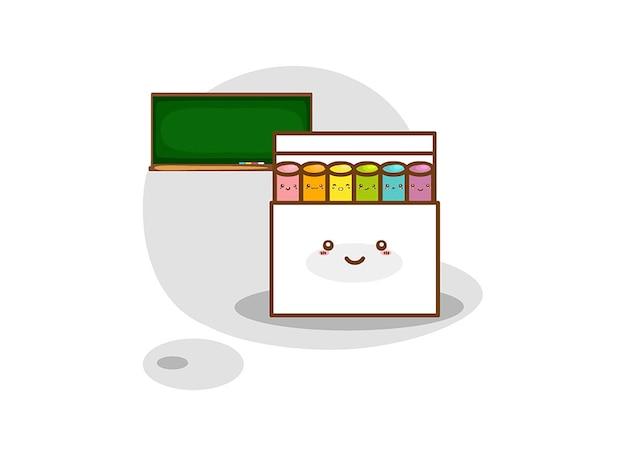 Giz colorido na caixa em um fundo branco