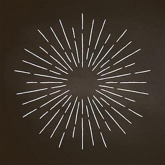 Giz vintage texturizado raios em preto