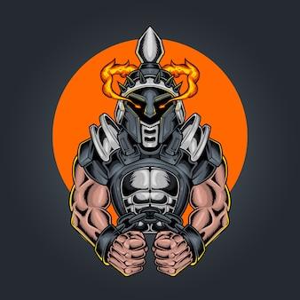 Gladiador com elmo de guerreiro