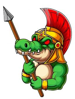 Gladiador de crocodilo com lança
