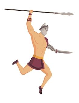 Gladiador de roma antiga. personagem de guerreiro romano de vetor em armadura com lança e espada