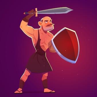 Gladiador grego antigo espartano ou guerreiro romano com espada e escudo