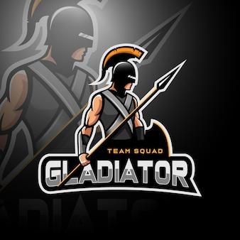 Gladiador segurando lança e escudo