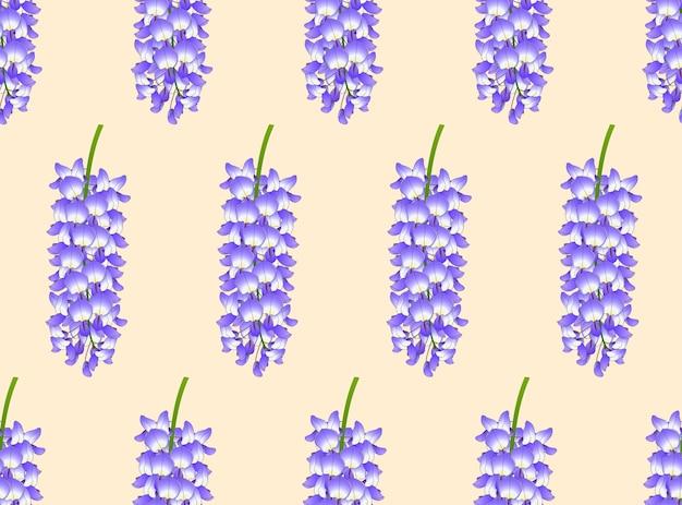 Glicínias azuis violetas sobre fundo bege marfim