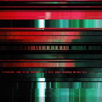 Glitch abstrato com efeito de distorção, bug, erro, linhas de cor aleatórias vermelhas e verdes horizontais
