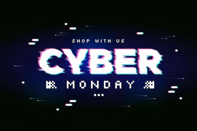 Glitch banner cyber segunda-feira