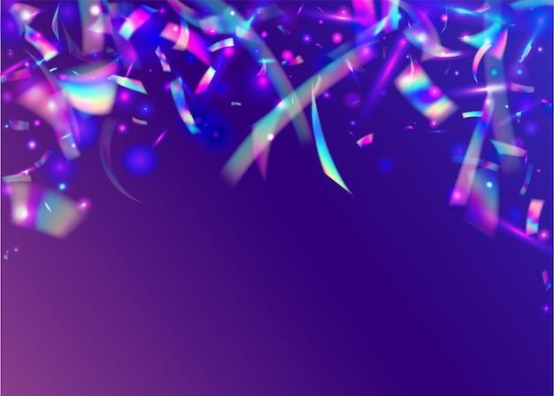 Glitch confetti. festa roxa brilha. design de metal. borrão decoração de natal. cristal glitter. arte do feriado. fiesta foil. efeito de queda. blue glitch confetti