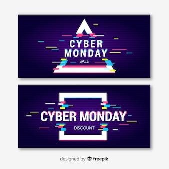 Glitch cyber segunda-feira banners