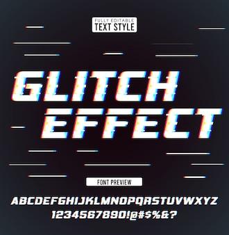 Glitch distorção de ruído digital efeito legal moderno coleção de fontes de texto tipo de letra alfabeto letras, números e símbolos