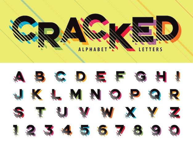 Glitch modern alphabet letras e números