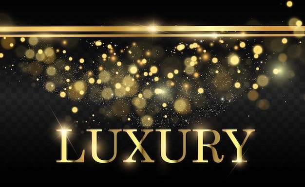 Glitter dourado com moldura de ouro brilhante em um fundo preto transparente. fundo dourado de luxo.