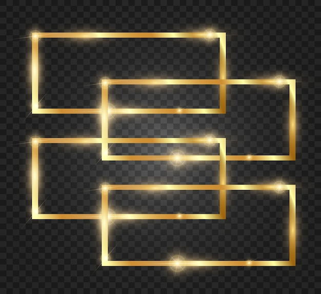 Glitter dourado com moldura de ouro brilhante em um fundo preto transparente.