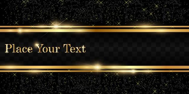 Glitter dourado com moldura de ouro brilhante sobre um fundo preto transparente. fundo dourado de luxo.