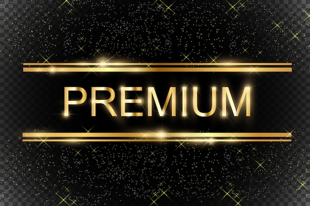 Glitter dourado com moldura de ouro brilhante sobre um fundo preto transparente.