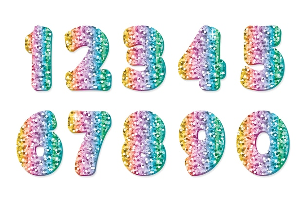 Glitter números multicoloridos.