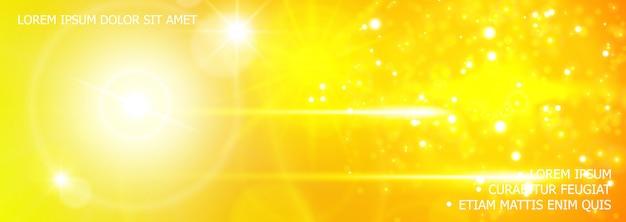 Glitter realista e fundo de efeitos de luz com reflexo de lente brilham efeitos de flash de luz solar em cores amarelas