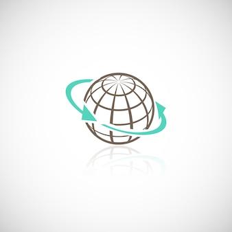Global networking conexão esfera mídia social em todo o mundo conceito ilustração vetorial