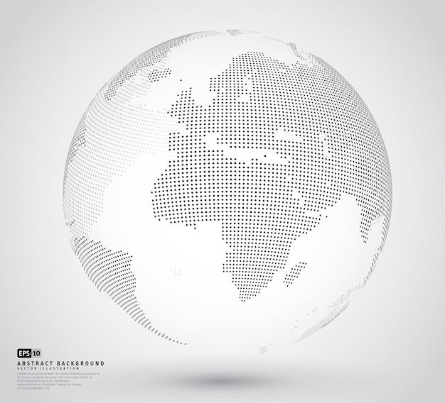 Globo 3d pontilhado abstrato