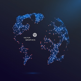 Globo abstrato do vetor 3d. ilustração do mapa do mundo para o projeto e a apresentação tecnologicos.