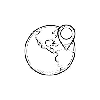 Globo com ícone de doodle de contorno desenhado de mão de marca de ponteiro. mapa mundial e conceito de localização, navegação e gps