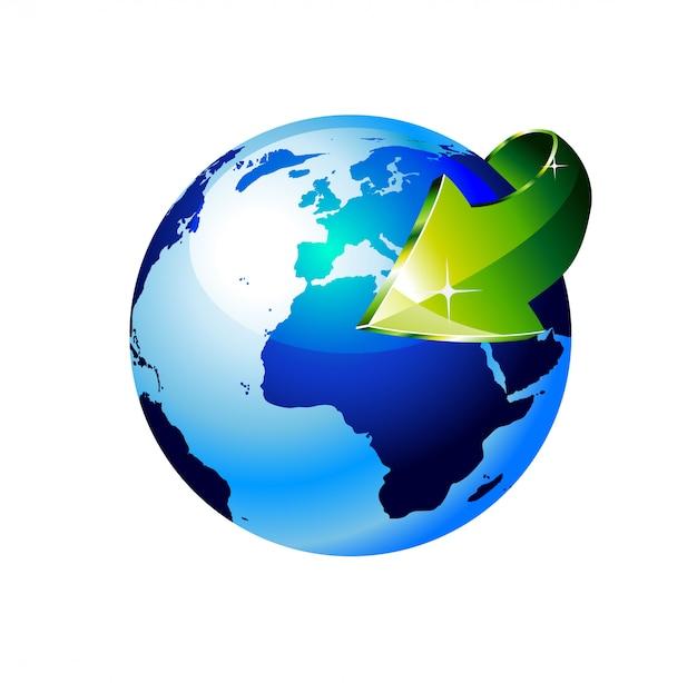 Globo da terra com uma seta mostrando um conceito de reciclagem