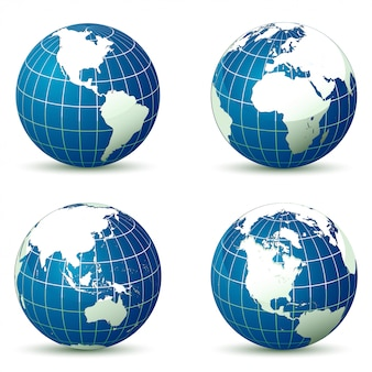 Globo da terra de ilustração vetorial de diferentes ângulos