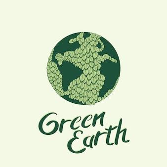 Globo da terra embrulhado com ilustração vetorial de folhas verdes